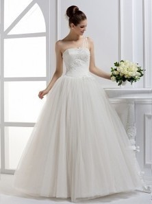 Tulle Ball Gown One Shoulder Natural Waist Floor Length With Beading Bridal Dress | wedding dresses in mubuy | Scoop.it