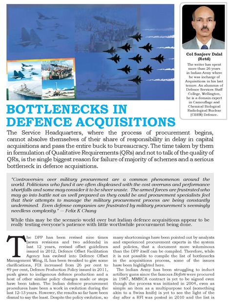 Bottlenecks In Defence Acquisitions by Col Sanjeev Dalal (Retd | Defence News Magazine in India-DSA | Scoop.it