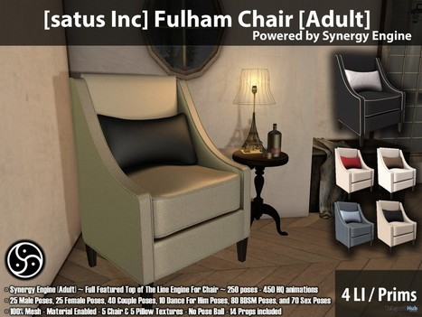 New Release: Fulham Chair [Adult] & [PG] by [satus Inc] | Teleport Hub - Second Life Freebies | Second Life Freebies | Scoop.it
