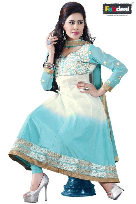 Fabdeal Sky Blue & White Colored Pure Cotton Semistitched Salwar Kameez | Online Shopping | Scoop.it