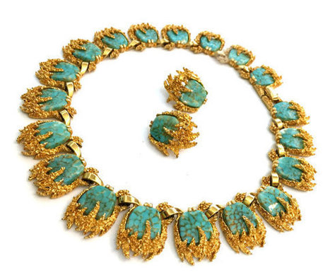 Marcel Boucher Turquoise Cabochons Necklace and Earring Demi   Vintage Jewelry   Scoop.it