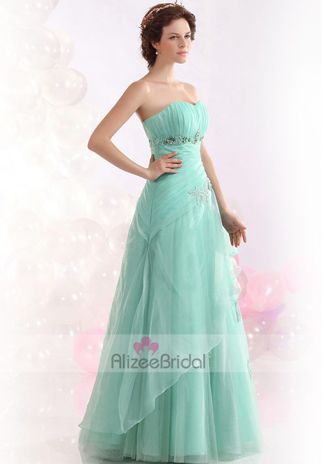 Sweetheart Blue Natural Organza Princess Evening Prom Dress Oed0068 | Fashion Dresses Online | Scoop.it