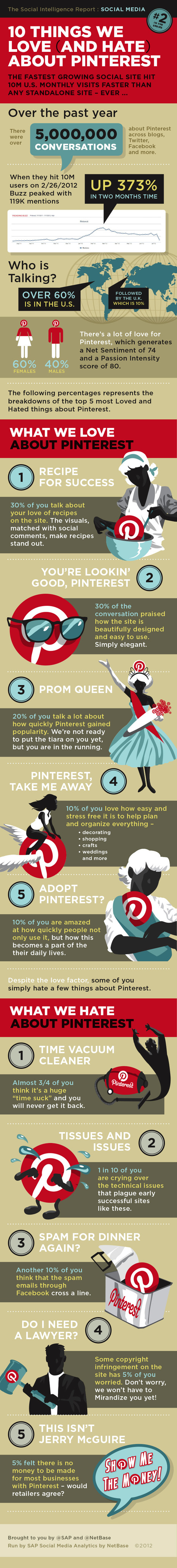 The Interest In Pinterest: The Ten Things We Love (and Hate) Infographic | Business 2 Community | Mon cyber-fourre-tout | Scoop.it