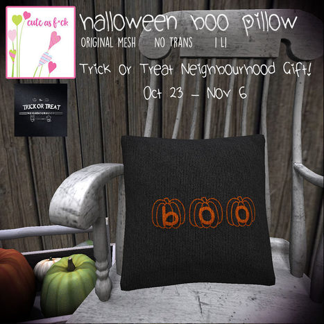 Free Boo Pillow Gift from ::cute as f*ck:: | 亗 Second Life Freebies Addiction & More 亗 | Scoop.it