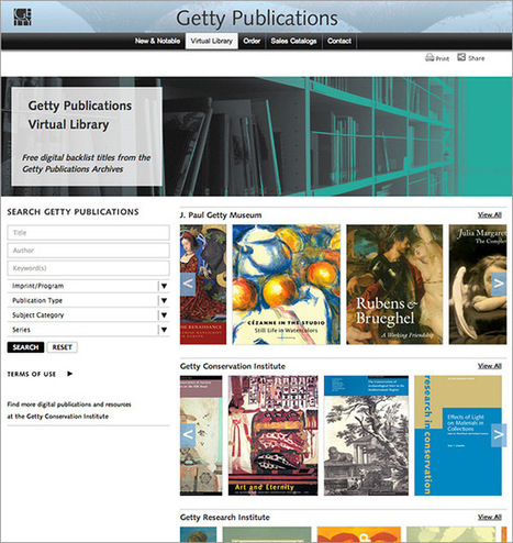 Getty Publications lance une bibliothèque virtuelle, offrant un accès en ligne gratuit à 250 ouvrages | Presse numérique, Presse 2.0. | Scoop.it