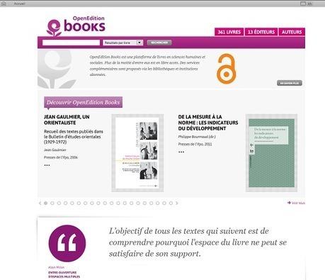 OpenEdition : les livres scientifiques ont leur plate-forme !   Trucs de bibliothécaires   Scoop.it