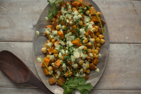 Warm Sweet Potato and Chickpea Salad with Lime, Cilantro and Tahini Dressing - Relay Living | My Vegan recipes | Scoop.it