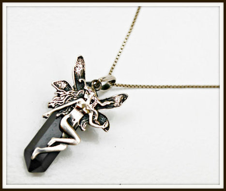 sterling silver fairy black crystal necklace | vintage jewelry | Scoop.it