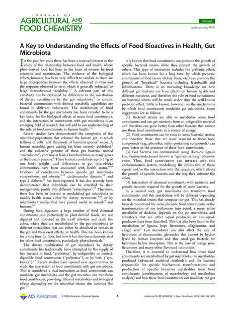 A Key to Understanding the Effects of Food Bioactives in Health, Gut Microbiota - Journal of Agricultural and Food Chemistry (ACS Publications) | Erba Volant - Applied Plant Science | Scoop.it