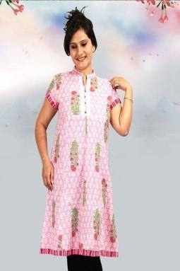 Printed Cotton Pink Half Sleeves Kurti-M-152-P - NEW ARRIVALS | KURTIS | Scoop.it