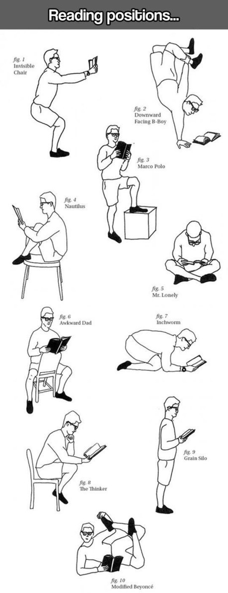 Reading positions: 14 fabulous pictures and cartoons | Librarysoul | Scoop.it