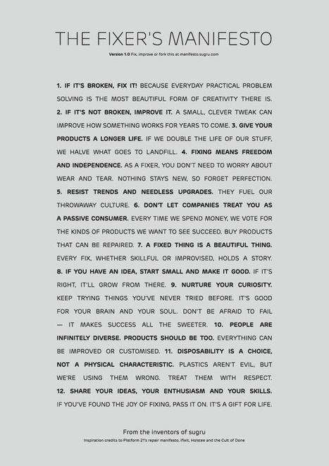 The Fixer's Manifesto. | Creativity and Learning Insights | Scoop.it