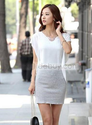 Womangently Fake Two Pieces Short Sleeves Sheath Dress | sexy girl | Scoop.it
