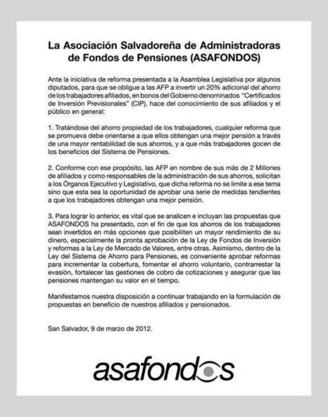 Comunicados - ASAFONDOS   El Salvador - Economía (deuda pública y pensiones)   Scoop.it