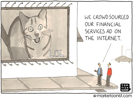 """Crowdsourcing Ads"" cartoon 