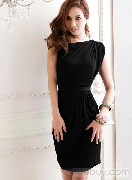 Amazing One Shoulder Slanting Pure Black Color Sexy Party Dress With Belt | sexy girl | Scoop.it