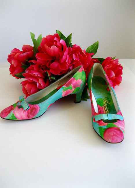 Sale1950s Shoes Kitten Heels Roses Blue Green Pink par gogovintage | That One Perfect Fit | Scoop.it