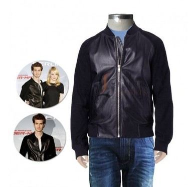An extreme hottie suede sleeves bomber jacket to induce your girlfriend with charm of Andrew Garfield | Unique collection of celebrity jackets its now | Scoop.it