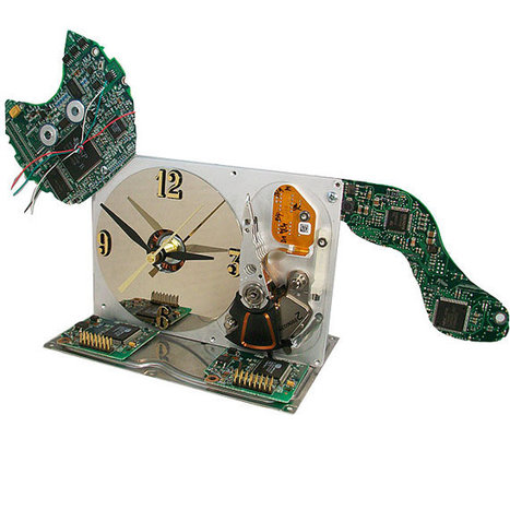 Meow...Computer Hard Drive Clock Transformed into a Cat, a Great Upcycle. | Mr Brown's Design and Technology | Scoop.it