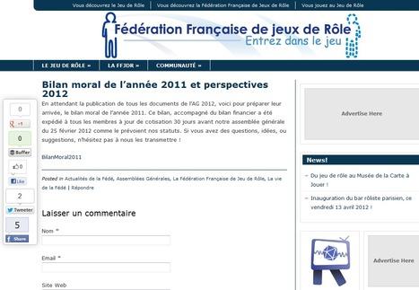 Bilan moral de l'année 2011 et perspectives 2012 | Jeux de Rôle | Scoop.it