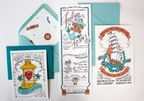 Blue + Orange Illustrated Nautical Wedding Invitations | Oh So Beautiful Paper | All About Beach Weddings | Scoop.it