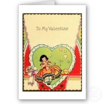 Charming Vintage Valentine with Pretty Girl from Zazzle.com | Antiques & Vintage Collectibles | Scoop.it