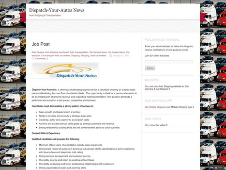 Comment on Job Post by ledlogistics | Auto Transportation | Scoop.it