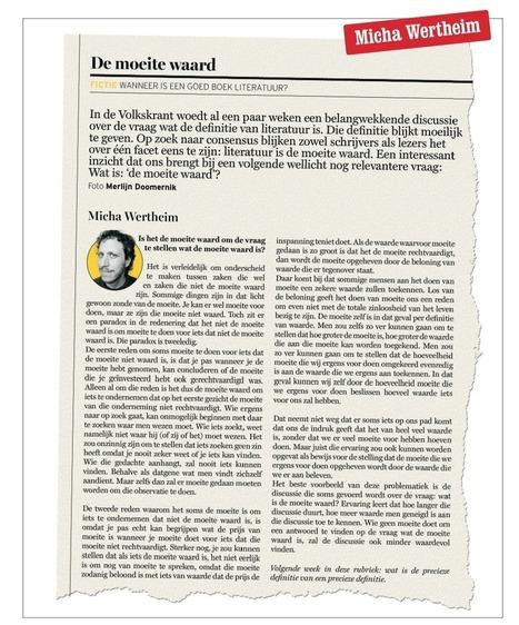 Wanneer is een goed boek literatuur? - Vrij Nederland | Literatuuractua Sofie | Scoop.it