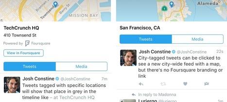 Twitter centralise les tweets d'un même lieu avec Foursquare - WebLife | Veille E-tourisme FROTSI PACA | Scoop.it