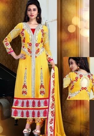Yellow And Pink Georgette And Velvet Chuddidar Kameez with Dupatta SRT2942 - Salwar Kameez | Desi Butik | Online Sarees shopping Store in India | Scoop.it