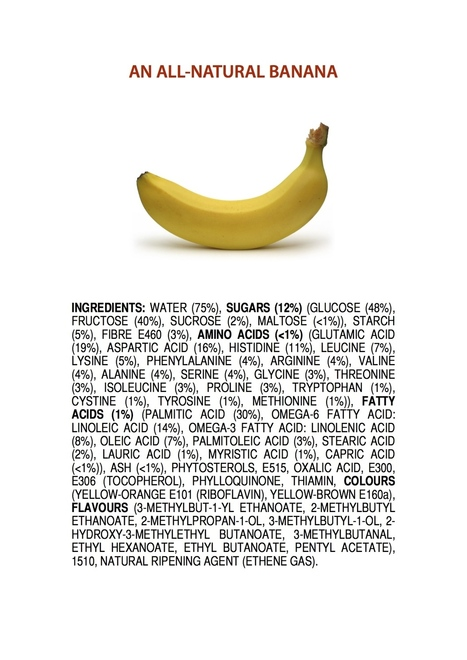 All the ingredients on this list are 100% natural in a non-GM banana #infographic   World of #SEO, #SMM, #ContentMarketing, #DigitalMarketing   Scoop.it