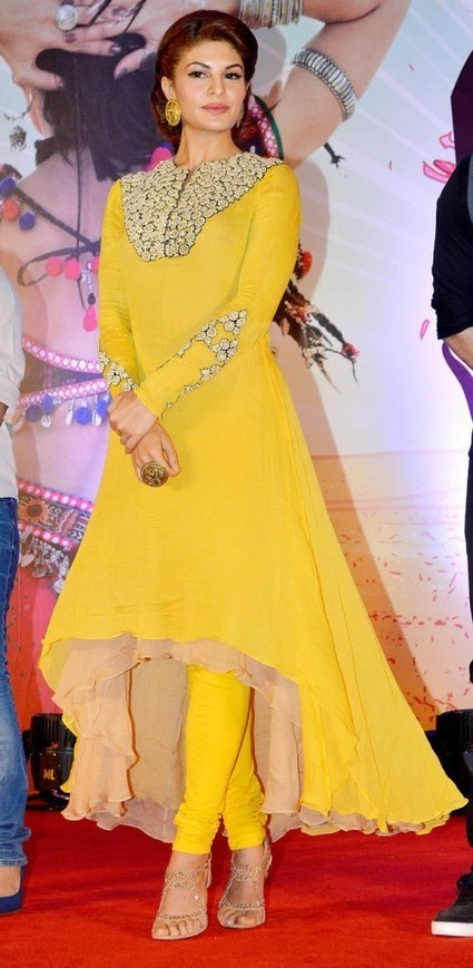 Jacqueline Fernandez in Yellow Low High Skirt with tight Churidar with Embroidery Design, Actress, Bollywood, Indian Fashion | Indian Fashion Updates | Scoop.it