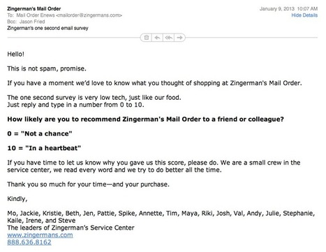 Zingerman's simple email survey by Jason Fried of 37signals | Flashissue | Scoop.it