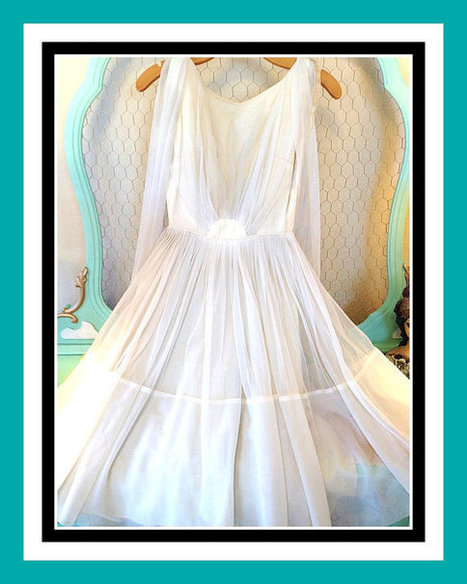 SALE HALF OFF: Vintage 50s-60s Short Wedding Dress Beautiful Chiffon | New Vintage Etsy Shop Valleyofthedollies | Scoop.it