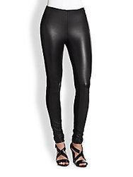 Ralph Lauren Black Label - Stretch Leather & Cotton Leggings - Saks Fifth Avenue Mobile | fashion pants | Scoop.it