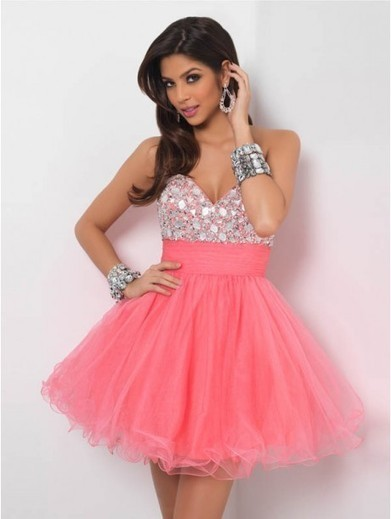 Cheap A-line Sweetheart Tulle Pink Cocktail Dresses/Short Prom Dress With Rhinestone #VenusD030 | Cheap Wedding Dresses UK, Bridesmaid Dresses, Evening Dresses & Prom Dresses In UK | Scoop.it
