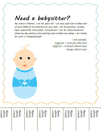 Free Babysitting flyers: templates and ideas | babysitting | Scoop.it
