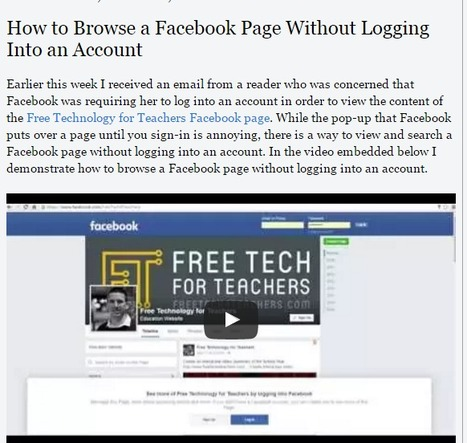 How to Browse a Facebook Page Without Logging Into an Account (Free Tech for Teachers) | Technology Tips | Scoop.it