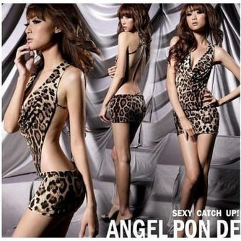 Stylish and Sexy Leopard Lingerie Babydoll Backless Halter Dress - Favorbuying.com | Cheongsam | Scoop.it