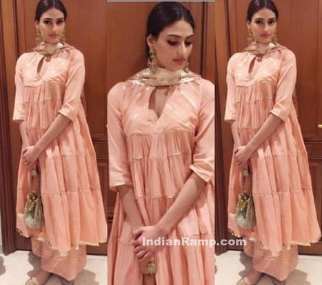Athiya Shetty in Musk color Salwar kameez by Sukriti & Aakriti, Actress, Bollywood, Indian Fashion | Indian Fashion Updates | Scoop.it