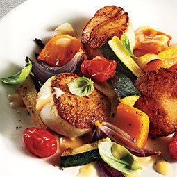 Seared Scallops with Summer Vegetables and Beurre Blanc | MyRecipes.com | SEAFOOD RECIPES | Scoop.it