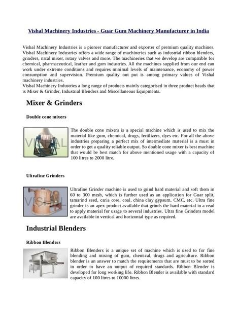 Vishal Machinery Industries - Guar Gum Machinery Manufacturer in India   Vishal Machinery Industries - Guar Gum Machinery Manufacturer in India   Scoop.it
