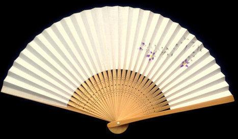 Flower Japanese Hand Fan Vintage Paper Ogi Sensu (F71) Iris   Etsy Today   Scoop.it