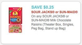 Sour Jacks & Sun-Maid Coupon - $0.25 each at ShopRite -Living ... | how to save money and make money with iherb.com | Scoop.it