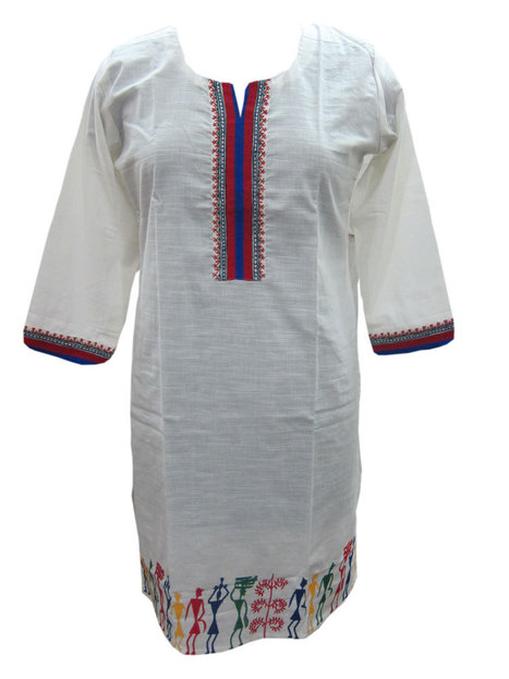 White Tunic Traditional Hemline Rayon Kurti Medium | Bohemian Fashion | Scoop.it