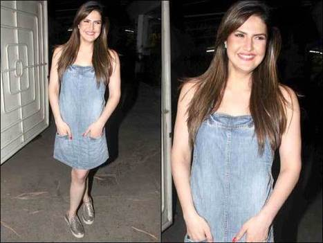 Zareen Khan In A Hot Denim Dress, Paired With Silver Sneakers | Celebrity Fashion Trends | Scoop.it