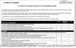 A Free Checklist to Assess the Quality of an E-Learning Course | E-Learning Academy | eLearning worth eKnowing | Scoop.it