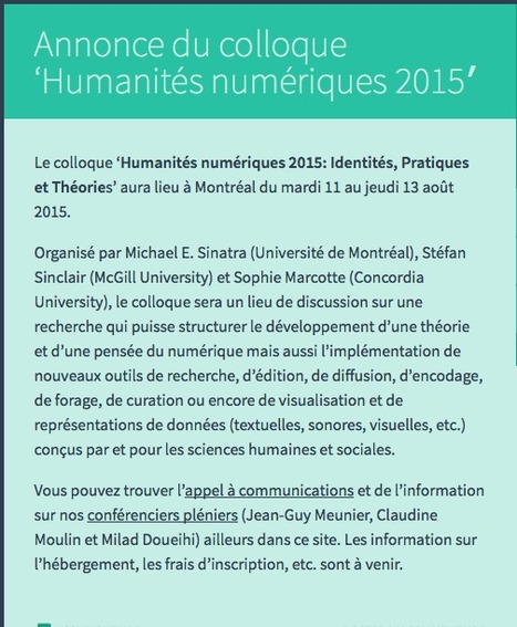 Appel à communications pour le colloque Humanités numériques 2015 #HN2015 Échéance 15 octobre | Philosophie actuelle | Scoop.it