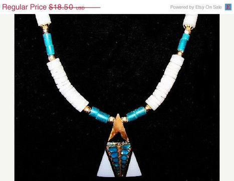"CIJ Sale South Western Necklace Triangle Pendant White Shell & Turquoise Beads Barrel Clasp 16"" Vintage 