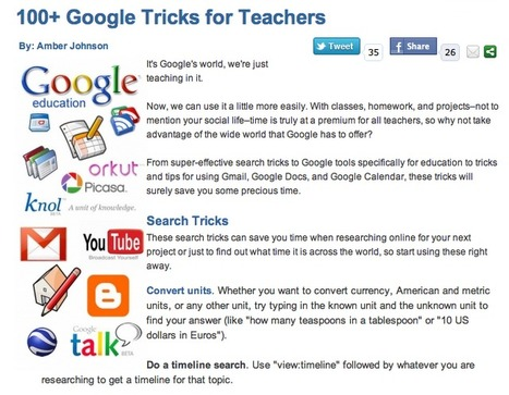 100+ Google Tricks for Teachers | למידה מתוקשבת | Scoop.it